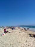 Praia ocupada no verão imagens de stock royalty free