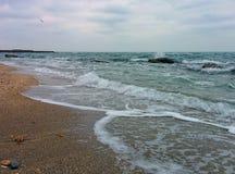 Praia, ondas e cais Foto de Stock