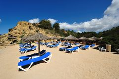 Praia pequena bonita em Ibiza Imagens de Stock Royalty Free