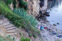 Praia pequena em Ulcinj, Montenegro Fotos de Stock