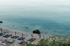 Praia pequena em Ulcinj, Montenegro Fotografia de Stock Royalty Free