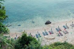 Praia pequena em Ulcinj, Montenegro Fotos de Stock Royalty Free