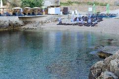 Praia pequena em Ulcinj, Montenegro Imagem de Stock