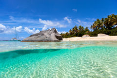 Praia perfeita da imagem nas Caraíbas Fotografia de Stock Royalty Free