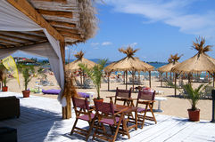 Praia perto de Nessebar, Bulgary Fotos de Stock Royalty Free