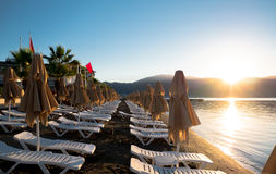 Praia perto do hotel Imagem de Stock