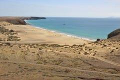 A praia Playa Mujeres em Lanzarote sul, Ilhas Canárias, Espanha Fotografia de Stock
