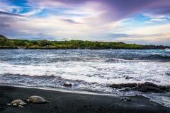 Praia preta da areia Imagens de Stock Royalty Free