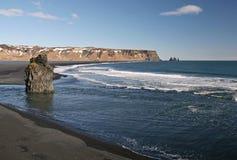 Praia preta da areia Imagem de Stock Royalty Free