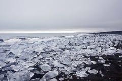 Praia preta da areia com gelo Imagens de Stock