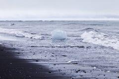 Praia preta da areia com gelo Fotografia de Stock Royalty Free
