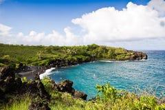 Praia preta da areia, Maui Fotos de Stock Royalty Free