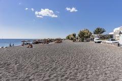 Praia preta, Santorini Imagem de Stock
