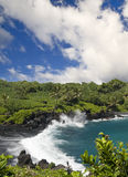 Praia preta tropical da areia Fotos de Stock
