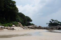 Praia privada de ClubMed Bintan fotografia de stock