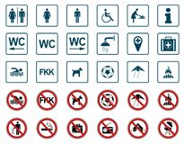 Praia - proibição & sinais de aviso - Iconset ilustração stock