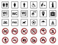 Praia - proibição & sinais de aviso - Iconset ilustração royalty free