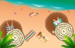 Praia realística do verão do lado de mar Imagem de Stock