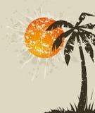 Praia retro um cartão ilustração stock