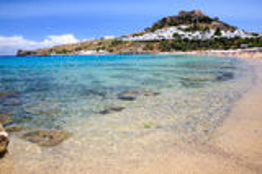 Praia Rhodes Greece de Lindos Imagens de Stock Royalty Free