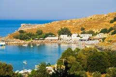 Praia Rhodes Greece de Lindos imagem de stock