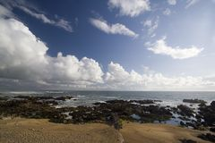 Praia rochosa no por do sol Fotos de Stock Royalty Free