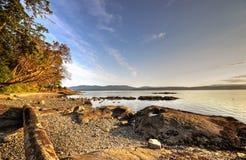 Praia rochosa no por do sol Imagens de Stock