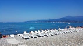 Praia rochoso dos mares pretos em Batumi Fotografia de Stock Royalty Free