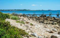 Praia rochoso Pier Piink Roses Padnaram Dartmouth Massachu da manhã fotografia de stock
