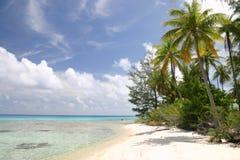 Praia só no console de Rangiroa Fotos de Stock Royalty Free