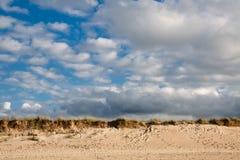Praia selvagem com as nuvens no fundo Foto de Stock Royalty Free