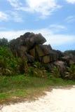 Praia Seychelles. La Digue do console. Imagem de Stock Royalty Free