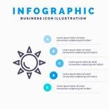 Praia, Shinning, linha ícone de Sun com fundo do infographics da apresentação de 5 etapas ilustração do vetor