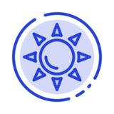 Praia, Shinning, linha pontilhada azul linha ícone de Sun ilustração do vetor
