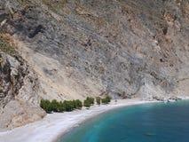 Praia sob o penhasco Fotografia de Stock