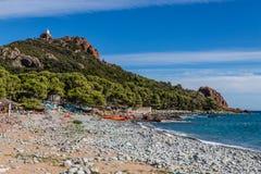 Praia-StRaphael da aterrissagem de Dramont, França Imagem de Stock