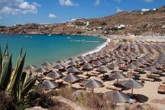 Praia super do paraíso - ilha Grécia de Mykonos Fotografia de Stock Royalty Free