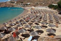 Praia super do paraíso - ilha Grécia de Mykonos Foto de Stock