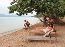 Praia tropical bonita de Sokha em Sihanoukville Fotos de Stock Royalty Free