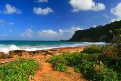 Praia tropical bonita em Aguadilla, Puerto Rico Foto de Stock Royalty Free