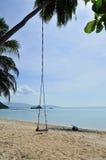 A praia tropical com balanço velho amarrou à árvore Imagem de Stock
