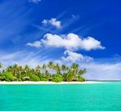 Praia tropical com palmeiras Imagens de Stock