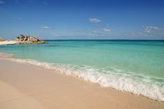 Praia tropical de turquesa do Cararibe de México Tulum Fotografia de Stock Royalty Free