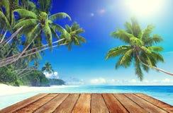 Praia tropical do paraíso e pranchas de madeira Fotografia de Stock Royalty Free