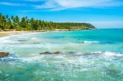 Praia tropical em Sri Lanka, Fotografia de Stock Royalty Free