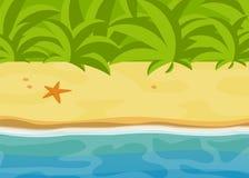 A praia tropical ensolarada, a paisagem tropica brilhante da selva, a ilustração do vetor do mar, a areia e a água lisas relaxam  Imagem de Stock Royalty Free