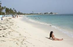 Praia tropical na ilha das Caraíbas de San Andres, Colômbia Fotos de Stock Royalty Free