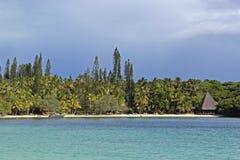 Praia tropical na ilha dos pinhos, Nova Caledônia fotografia de stock