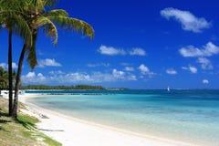 Praia tropical no console de Maurícia Foto de Stock Royalty Free