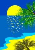 Praia tropical no nascer do sol Fotografia de Stock Royalty Free